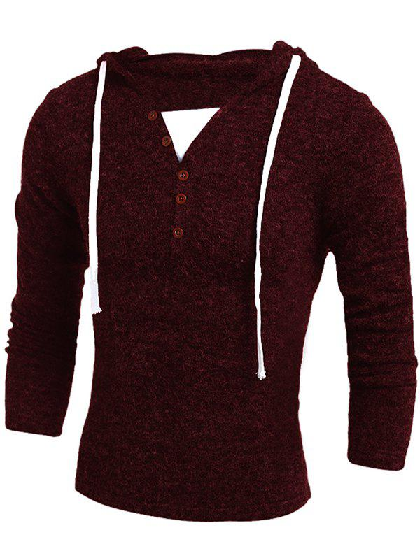Faux Twinset Hooded Color Block Sweater - RED WINE XL