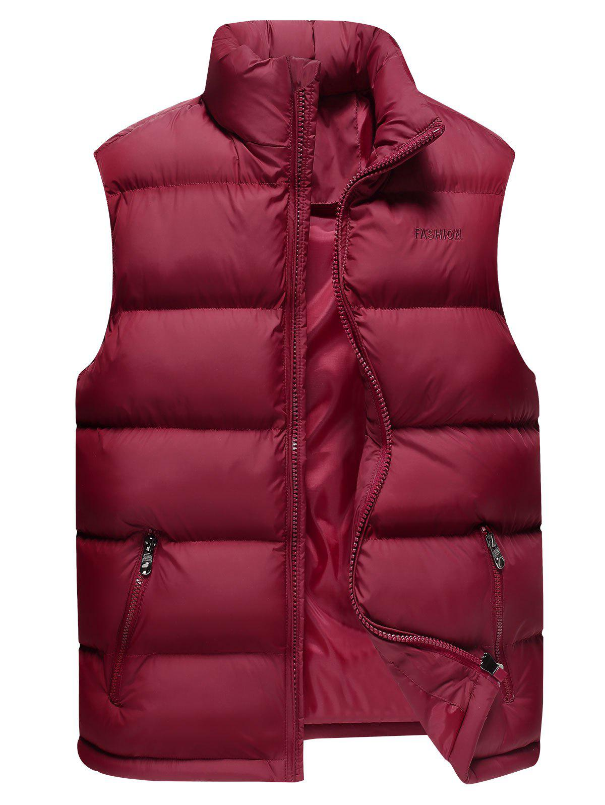 Sleeveless Cotton-Padded Zip Up Vest - RED WINE XL