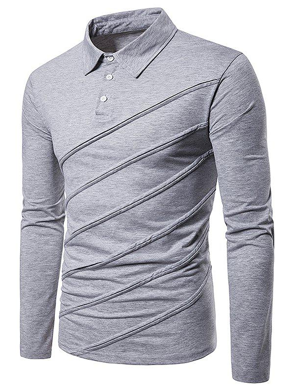 Long Sleeve Spliced Fold Design Polo Shirt - LIGHT GRAY M