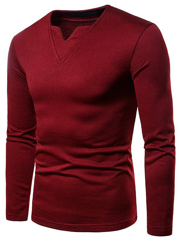 Fleece Warm Notch Collar T-shirt - RED WINE XL