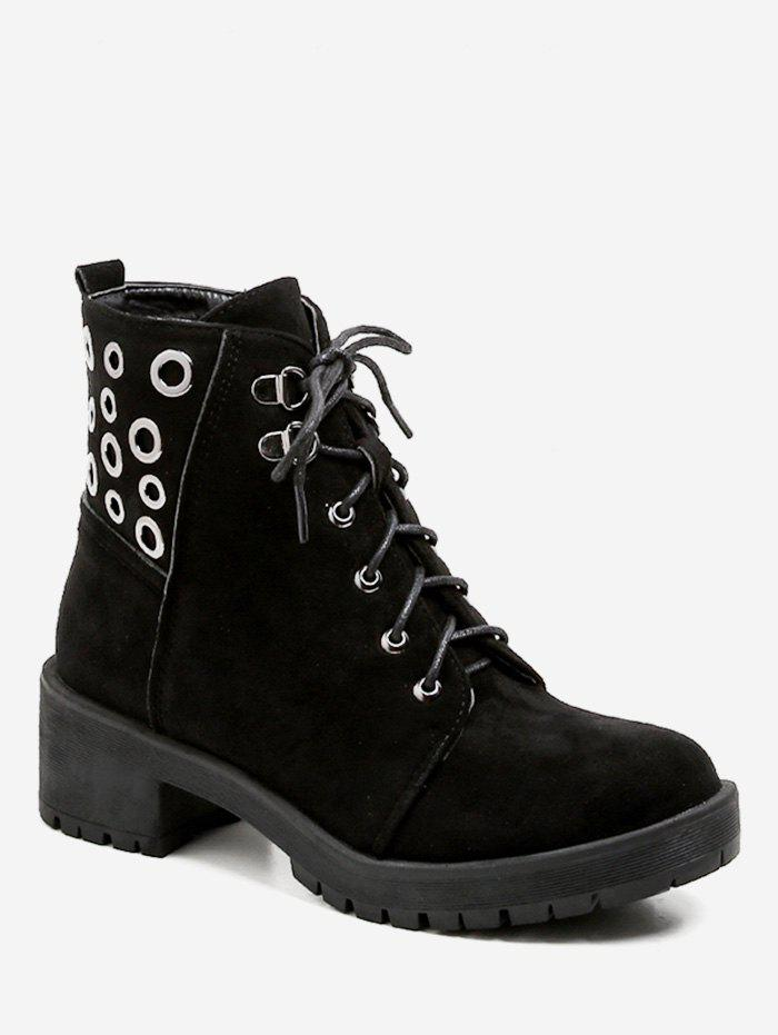 Bottines en daim à oeillets à lacets - Noir EU 40