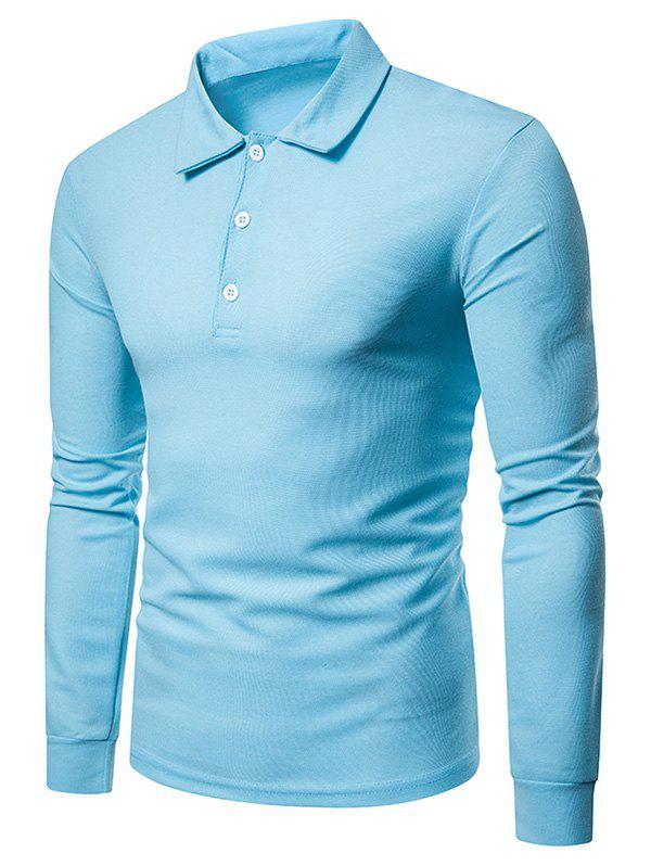 Whole Colored Polo Collar T-shirt - LIGHT BLUE 2XL