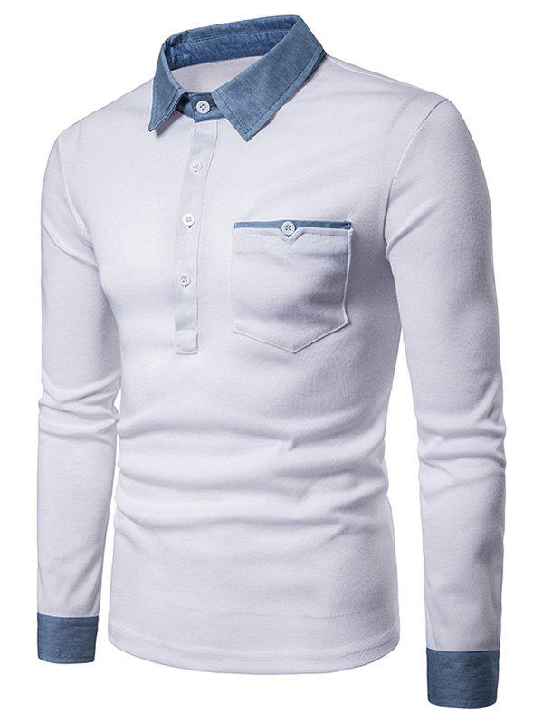 Casual Denim Collar Cuff Polo Shirt - WHITE 2XL