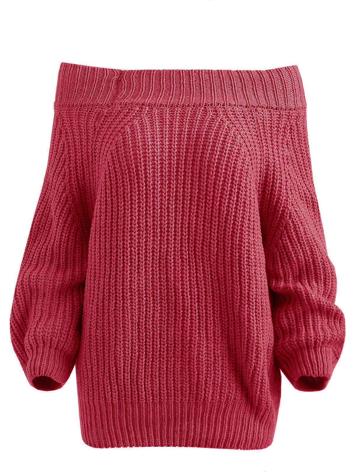 Chunky Off The Shoulder Pullover Sweater - RED ONE SIZE