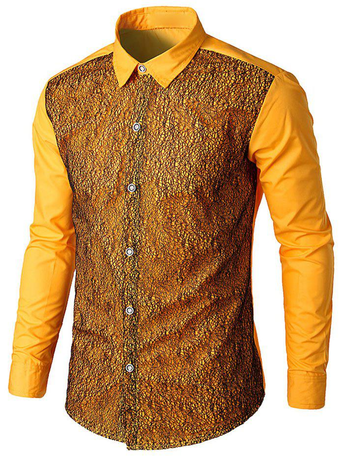 Front Mesh Embellished Button Up Shirt - YELLOW L