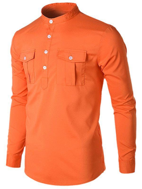 Col montant poches occasionnels chemise - Orange XL