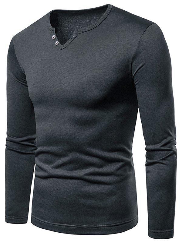 Solid Color Notch Neck Warm T-shirt - DARK GRAY L