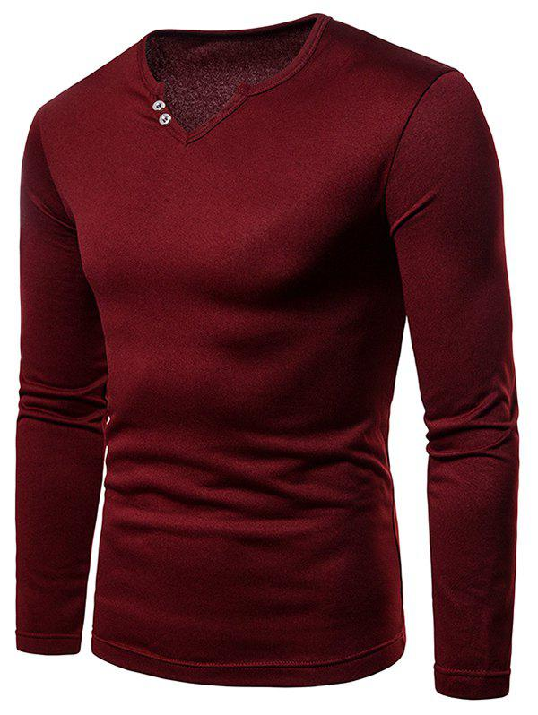 Solid Color Notch Neck Warm T-shirt - RED WINE XL
