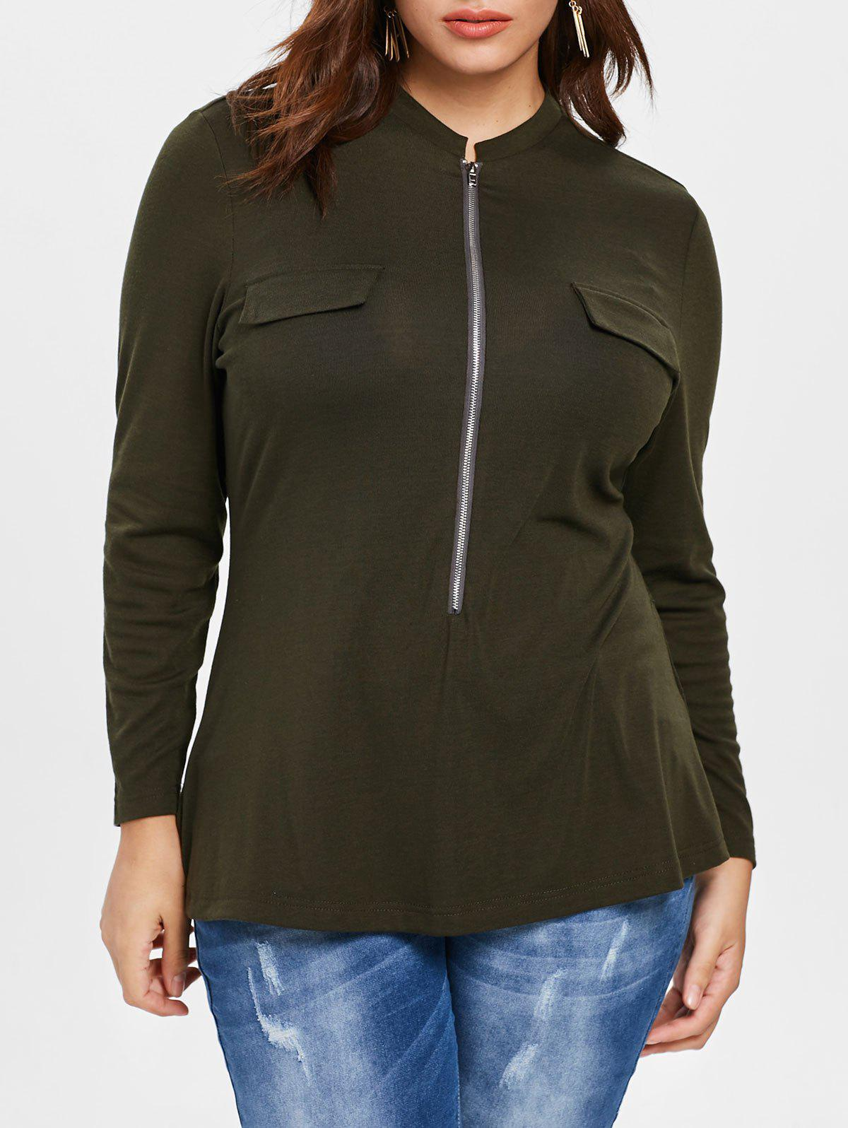 Plus Size Pocket Detail Flared T-shirt - ARMY GREEN L