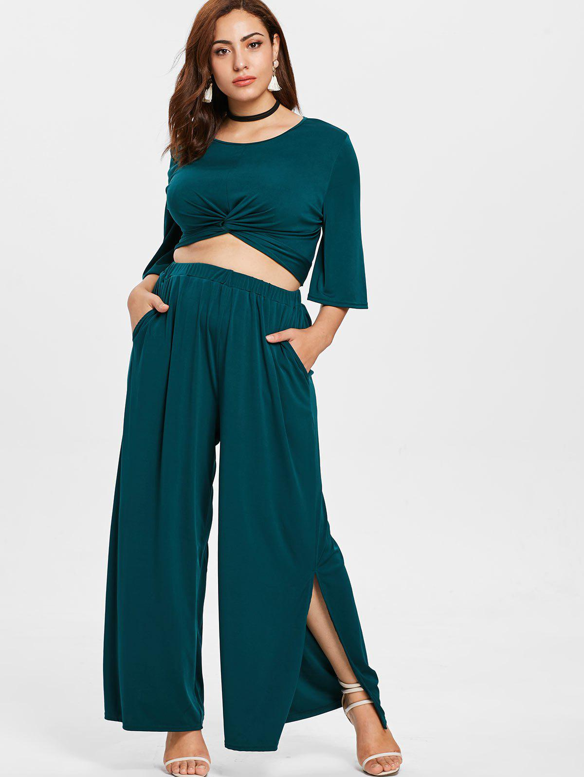 Plus Size Twist Top and High Waisted Pants - MEDIUM SEA GREEN 4X