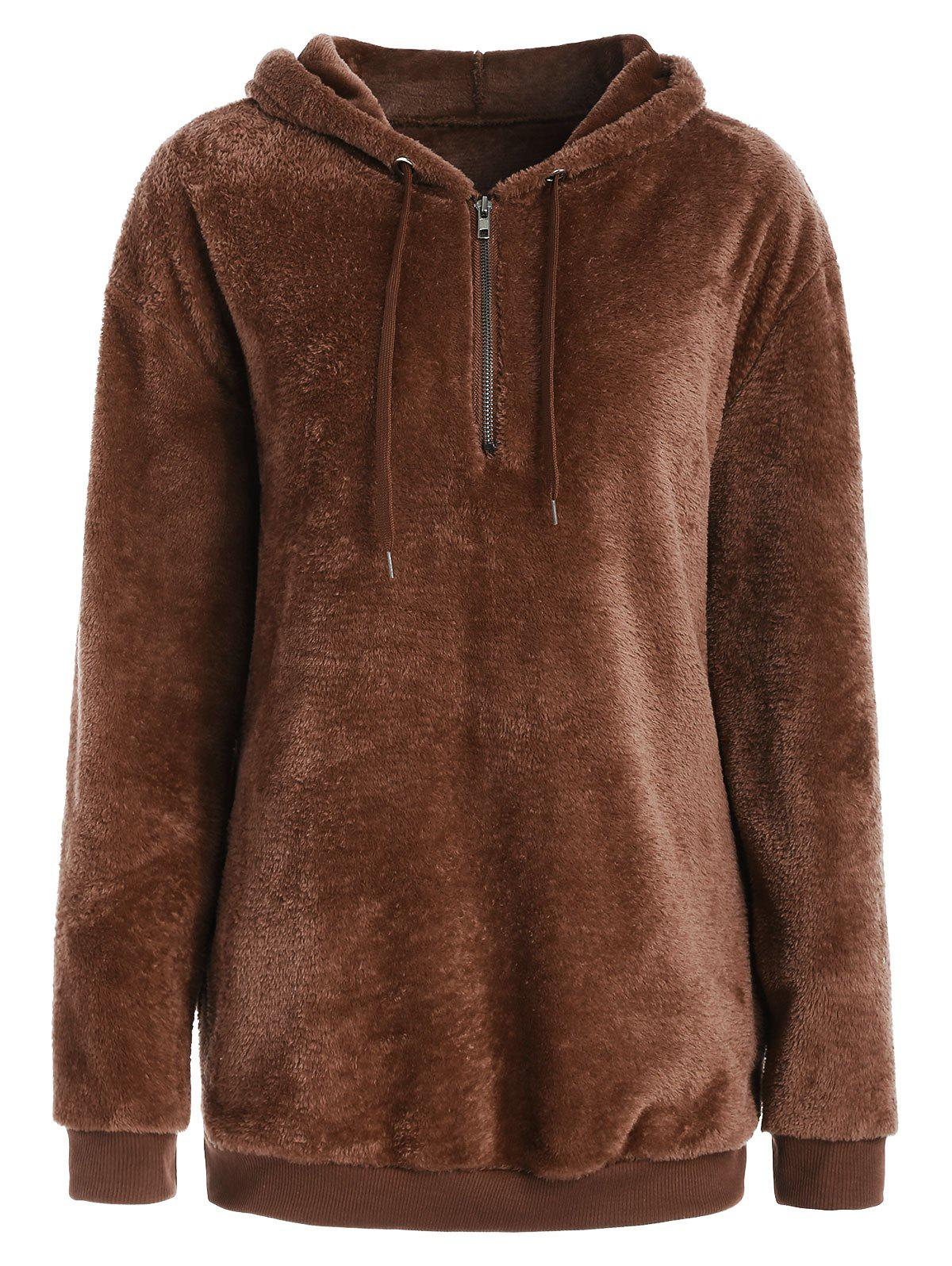Drop Shoulder Half Zipper Faux Fur Hoodie - BROWN M