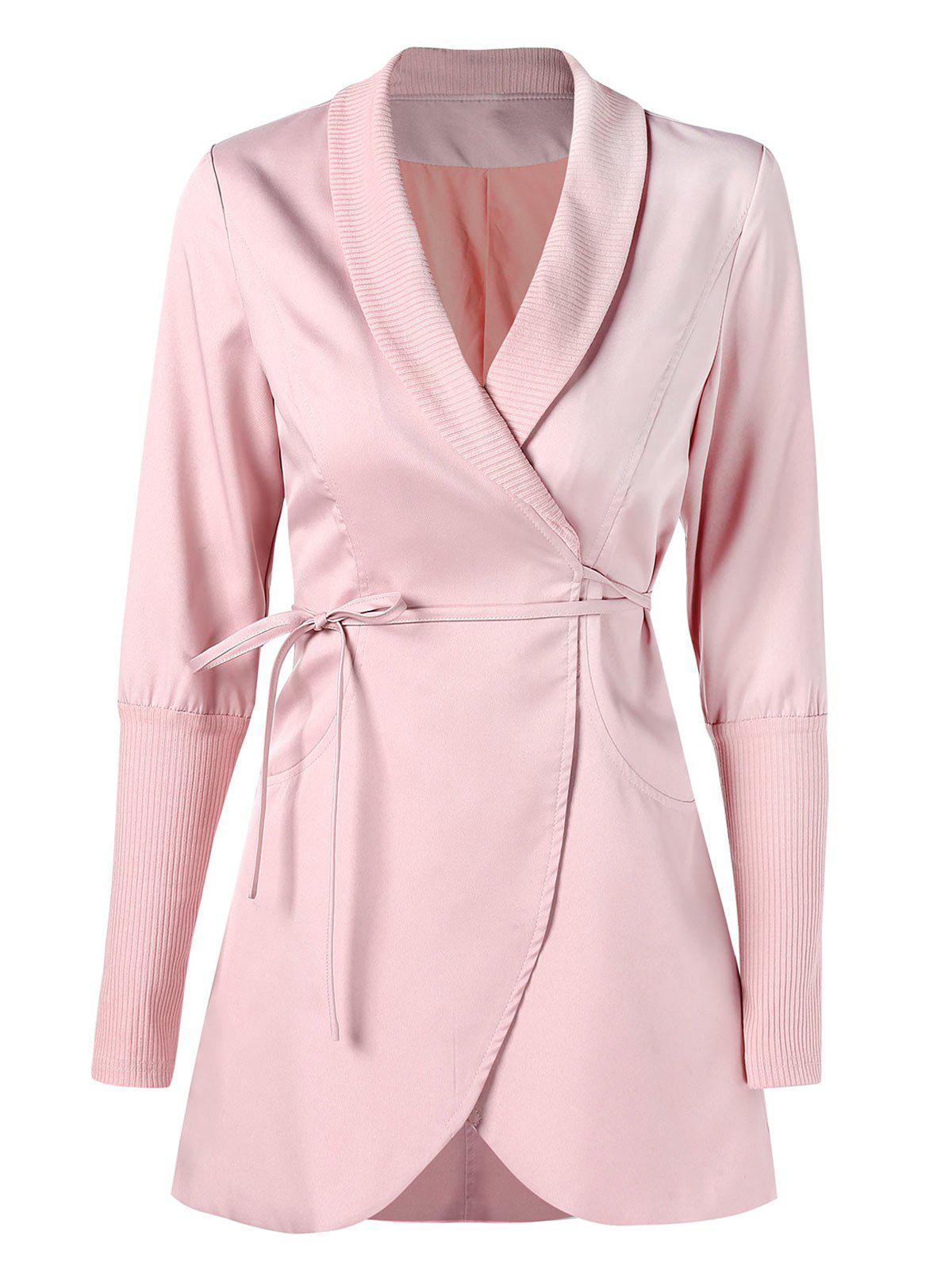 Ribbed Panel Skirted Wrap Coat - LIGHT PINK L