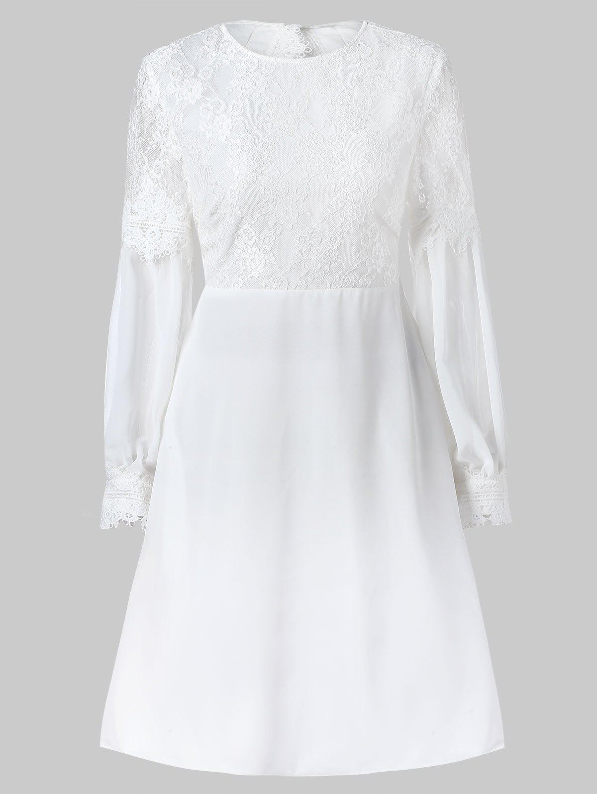 Lace Panel Cut Out Long Sleeve Dress - WHITE XL