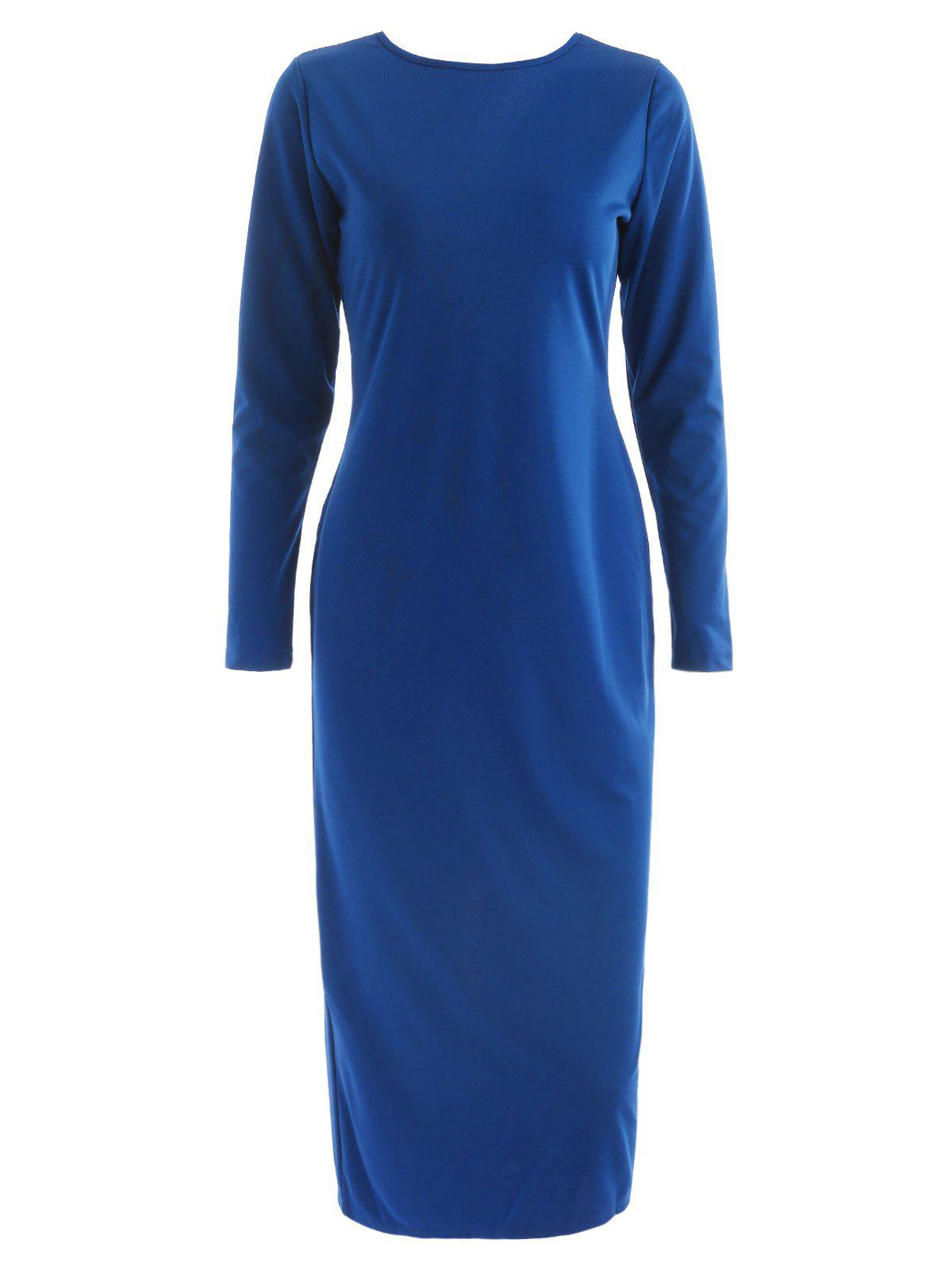 Long Sleeve Zip Up Pencil Dress - BLUE M