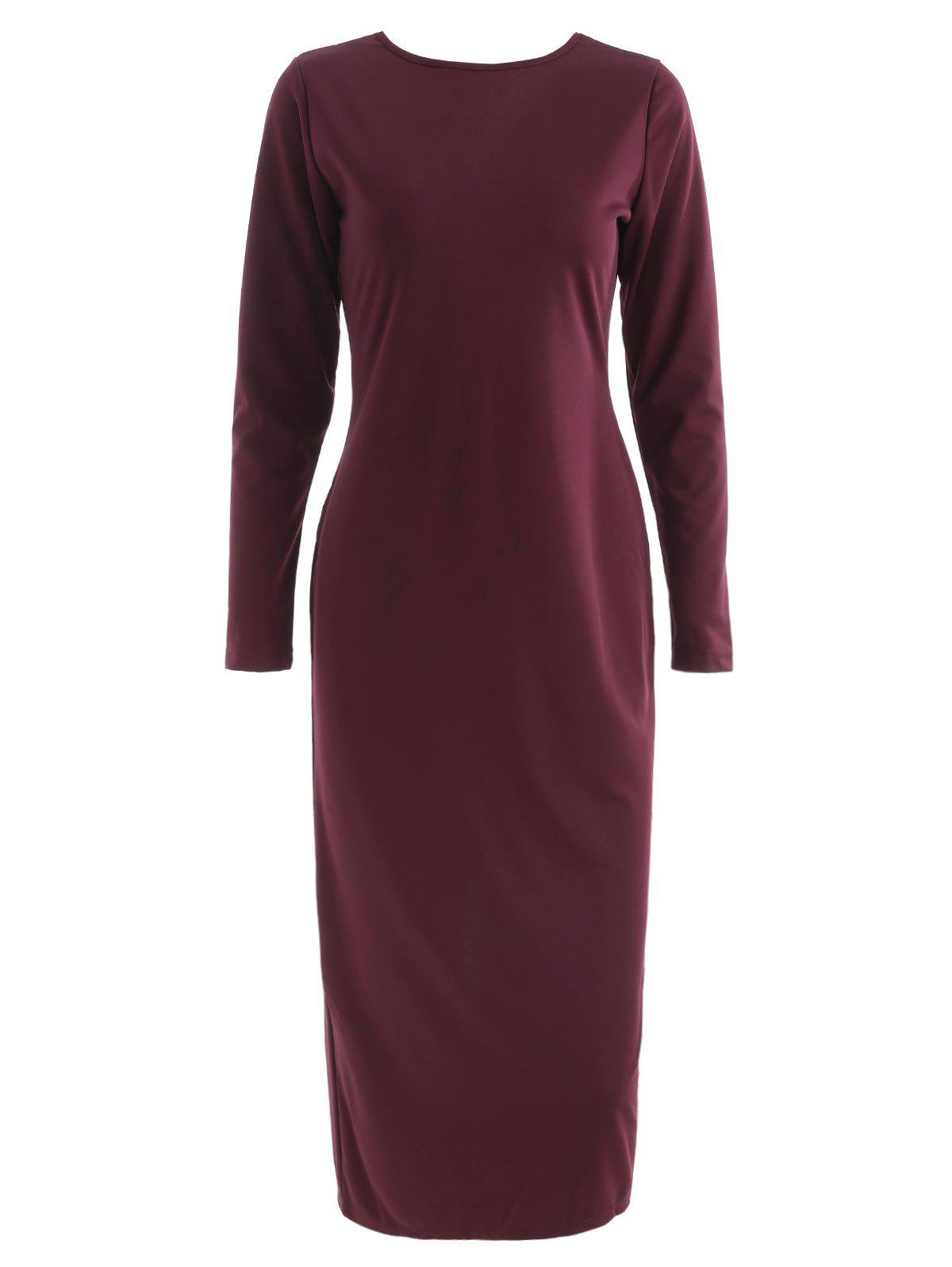 Long Sleeve Zip Up Pencil Dress - RED WINE L