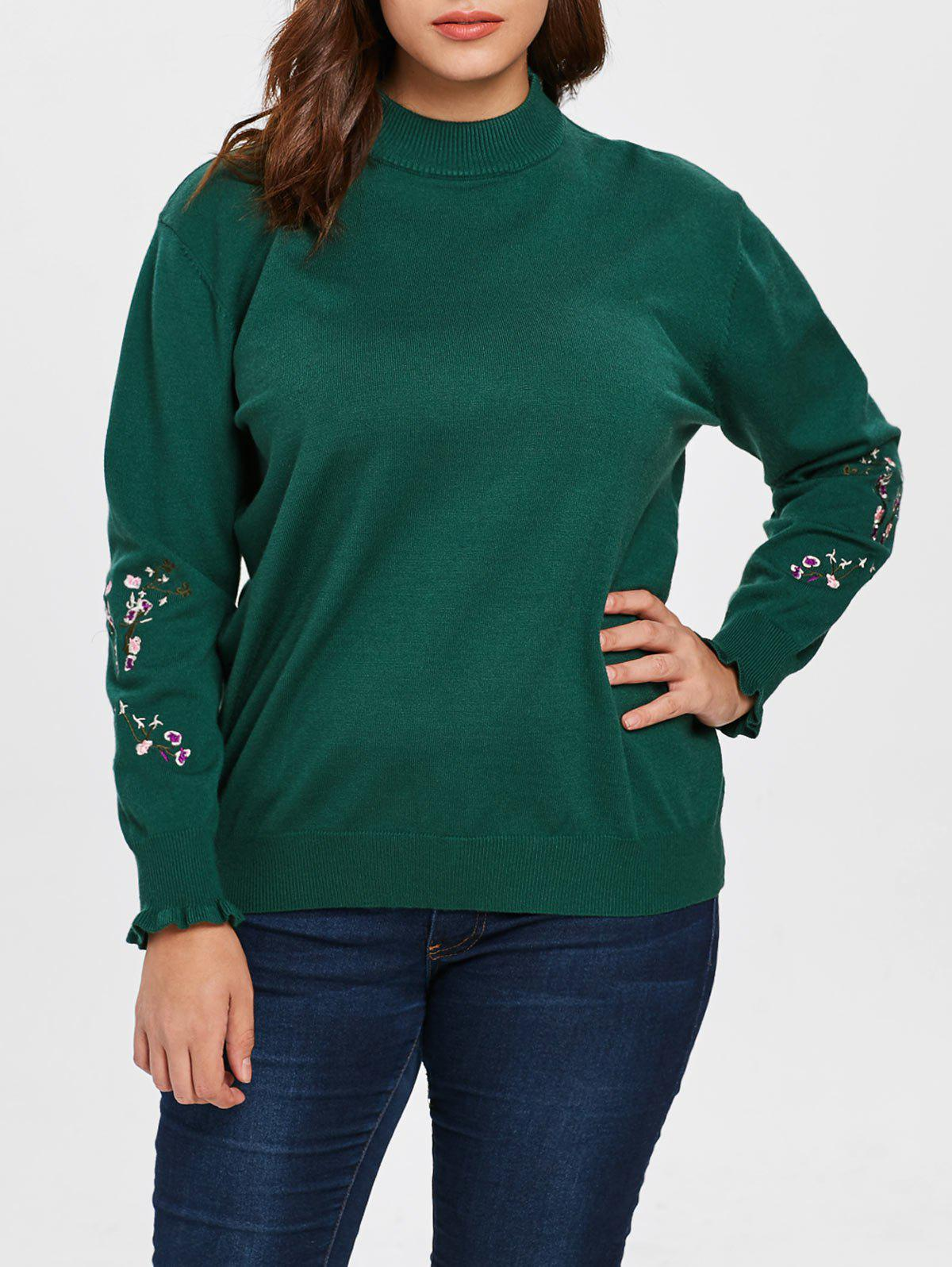 Plus Size Embroidered Sleeve Sweater
