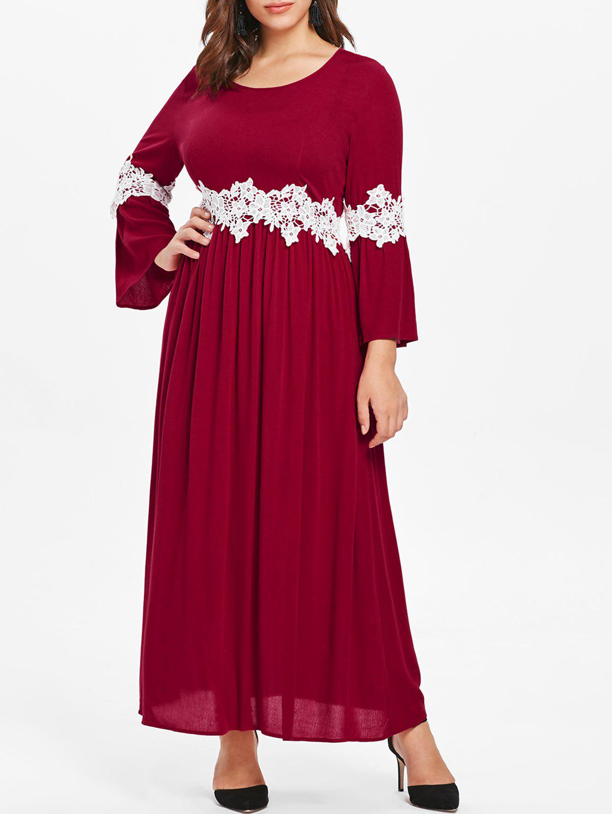 Plus Size Flare Sleeve Lace Panel Maxi Dress - RED WINE L