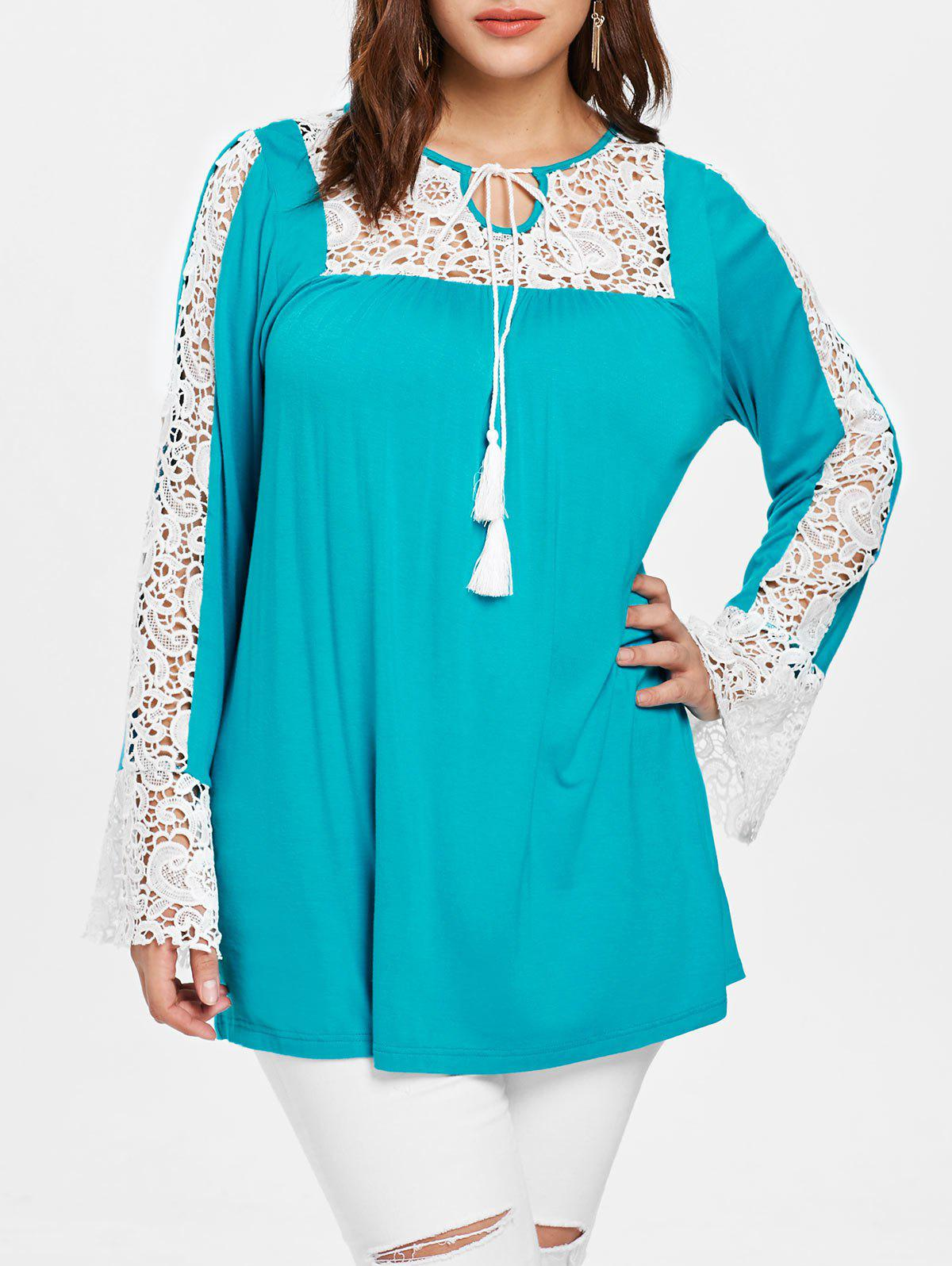 Plus Size Contrast Lace Panel Tunic T-shirt - MEDIUM TURQUOISE L