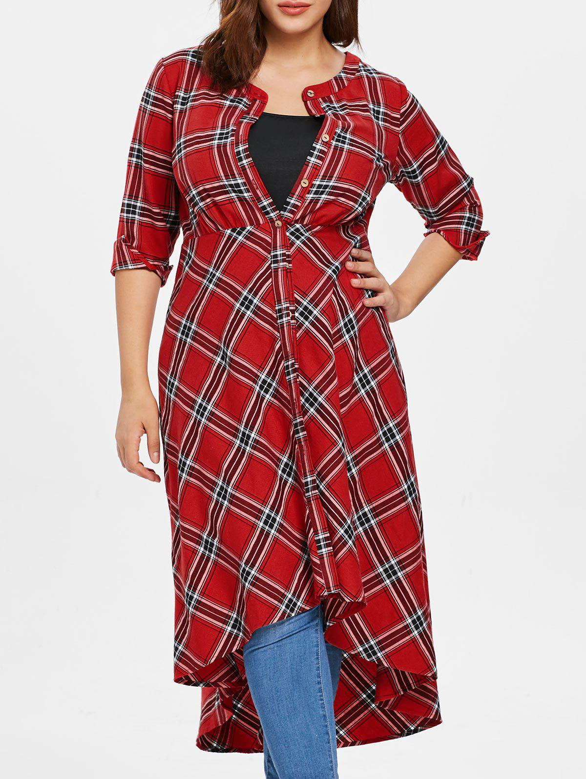 Plus Size Plaid Button Up Maxi Shirt - multicolor L
