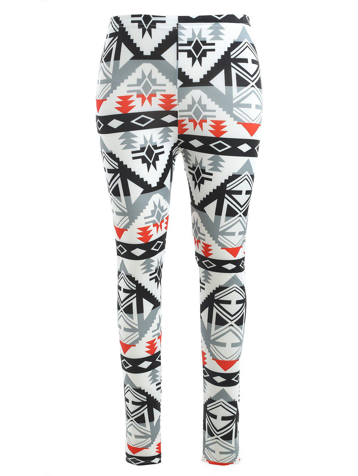 Casual Printed High Waist Pencil Pants - multicolor S