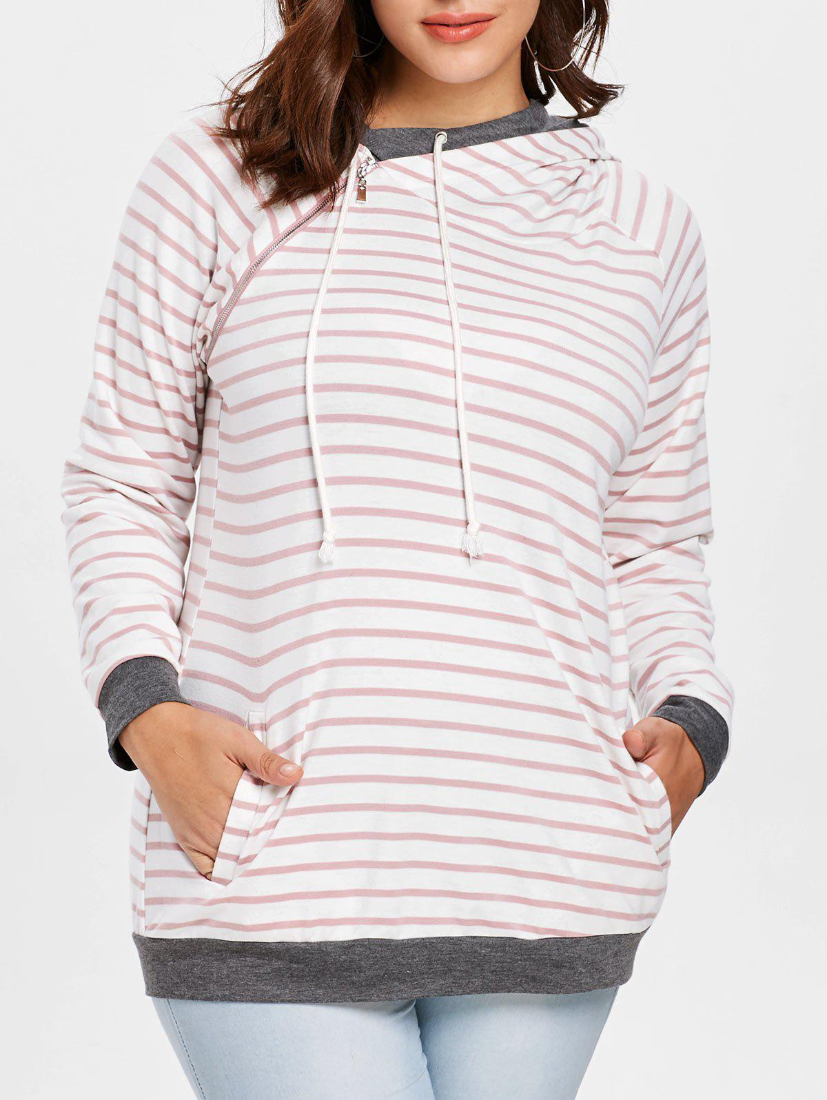 Plus Size Zip Raglan Sleeves Stripe Sweatshirt - PINK L