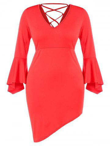 Plus Size V Neck Lace Up Bell Sleeves Asymmetric Dress