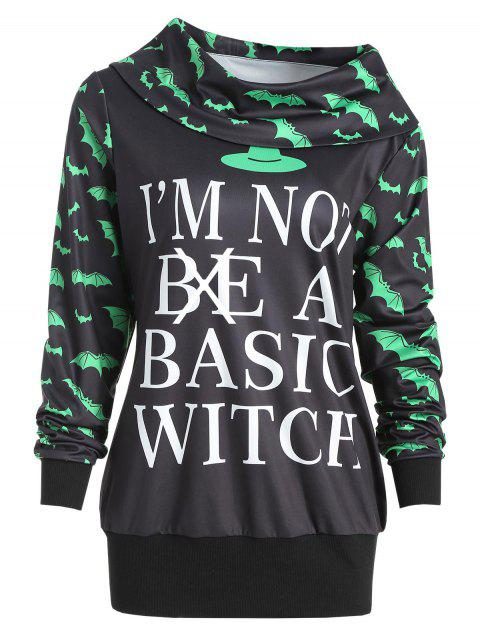 Halloween Bat Print Sweatshirt - BLACK M
