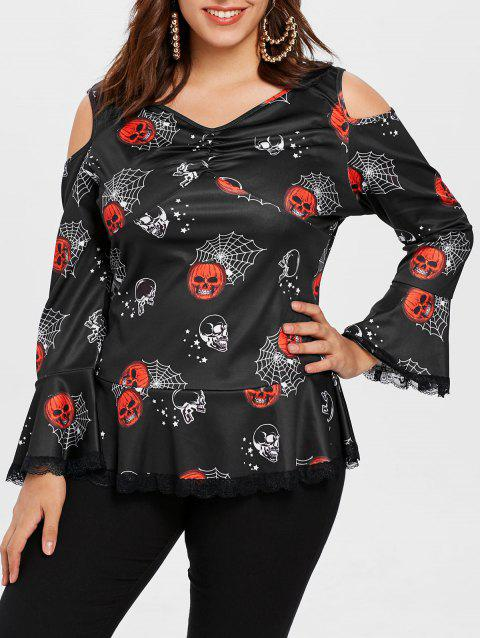 Plus Size Ruched Halloween Printed T-shirt - BLACK 1X