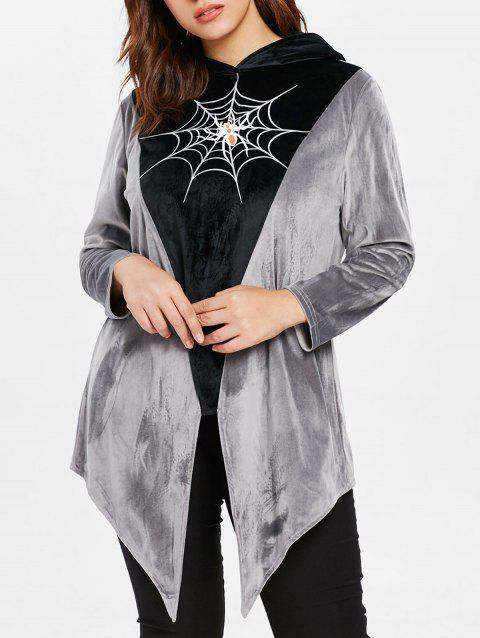 Asymmetrical Plus Size Spider Web Hoodie - GRAY 1X