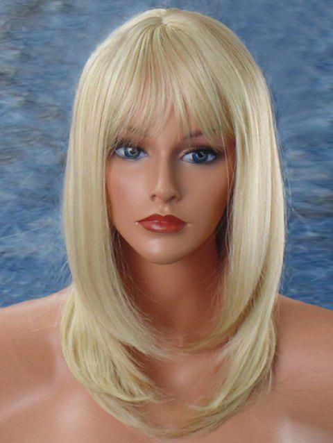 Long See-through Fringe Straight Party Synthetic Wig - BLONDE