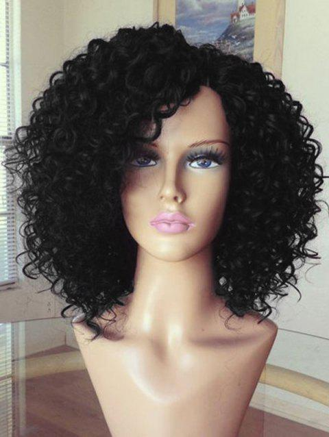 Medium Synthetic Inclined Bang Kinky Curly Wig - BLACK