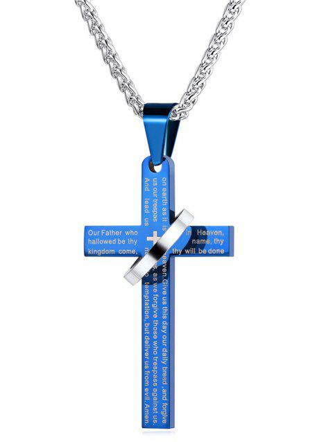 Vintage Cross Ring Pendant Necklace - BLUE