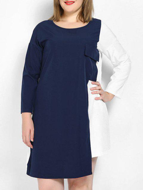 Plus Size Two Tone Dress - LAPIS BLUE 2X