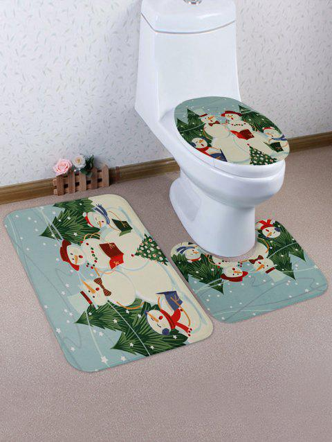 Snowmans Print 3 Pcs Bathroom Toilet Mat - multicolor
