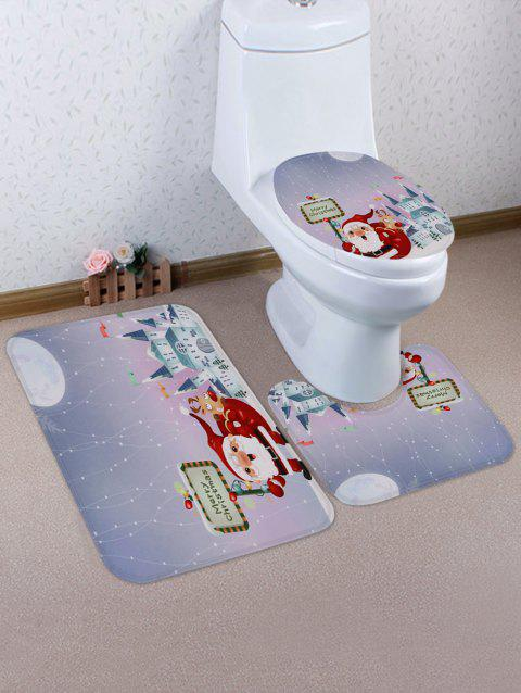Father Christmas Print 3 Pcs Bathroom Toilet Mat - multicolor