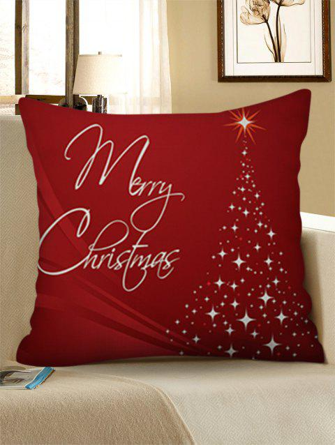 Merry Christmas Tree Linen Pillowcase - RED WINE W18 X L18 INCH