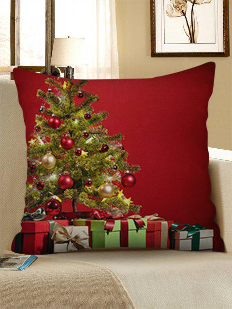 Gift Merry Christmas Tree Linen Pillowcase - LAVA RED W18 X L18 INCH