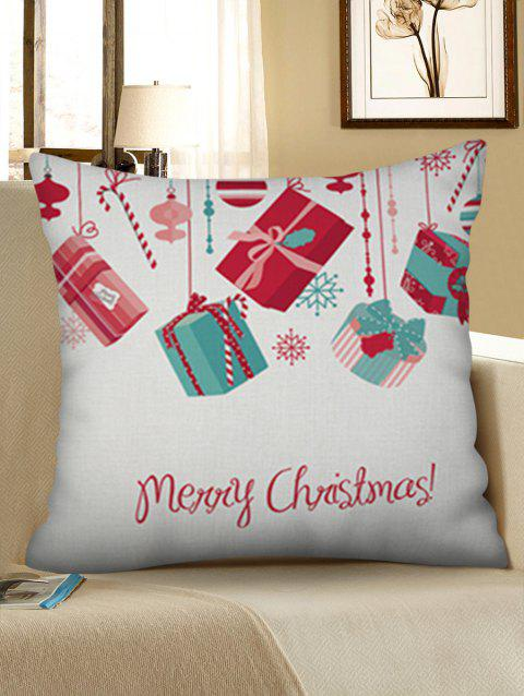 Merry Christmas Gift Linen Pillowcase - WARM WHITE W18 X L18 INCH