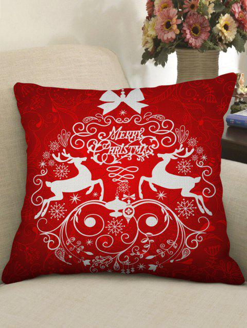 Merry Christmas Deer Linen Pillowcase - LAVA RED W18 X L18 INCH