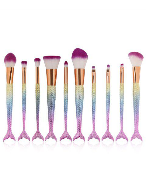 Cosmetic 10Pcs Mermaid Shaped Handles Ultra Soft Makeup Brush Set - multicolor B