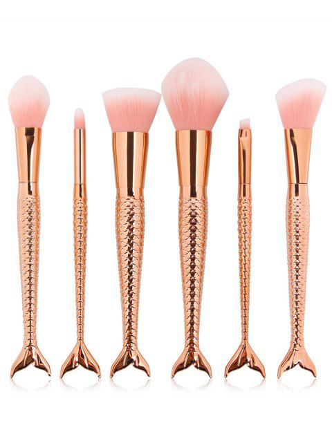 Cosmetic 6Pcs Mermaid Shaped Handles Ultra Soft Travel Makeup Brush Suit - multicolor E