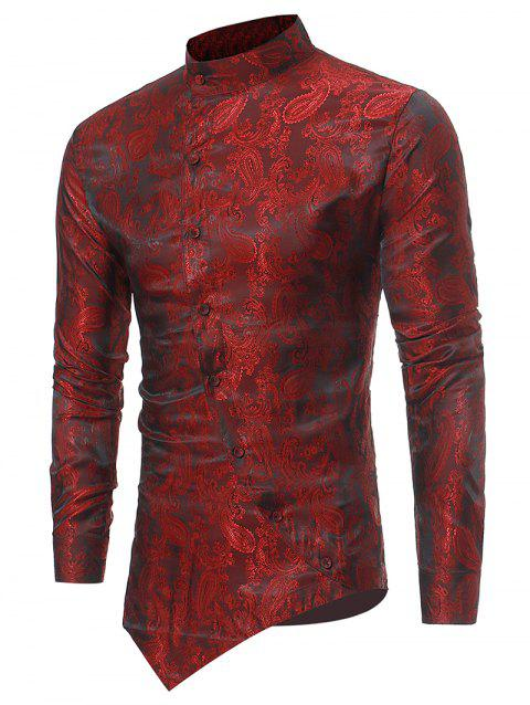 Paisley Print Button Up Asymmetric Shirt - RED WINE M