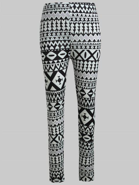 Geometric Graphic Skinny Pants - multicolor XL