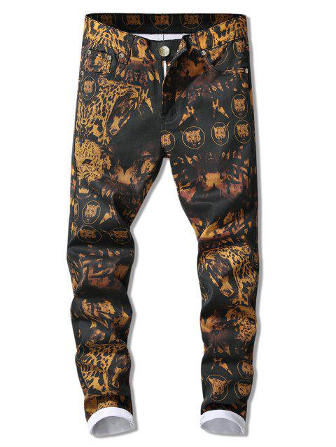 Zip Fly Leopard Printed Cuffed Jeans - multicolor 36