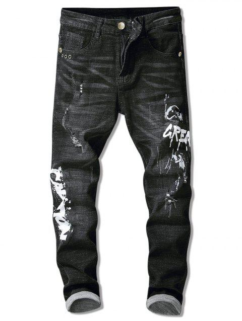 Splatter Paint Ripped Straight Leg Jeans - BLACK 36
