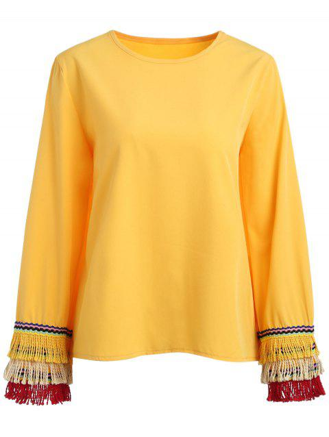 Layered Fringe Cuffs Blouse - SUN YELLOW S