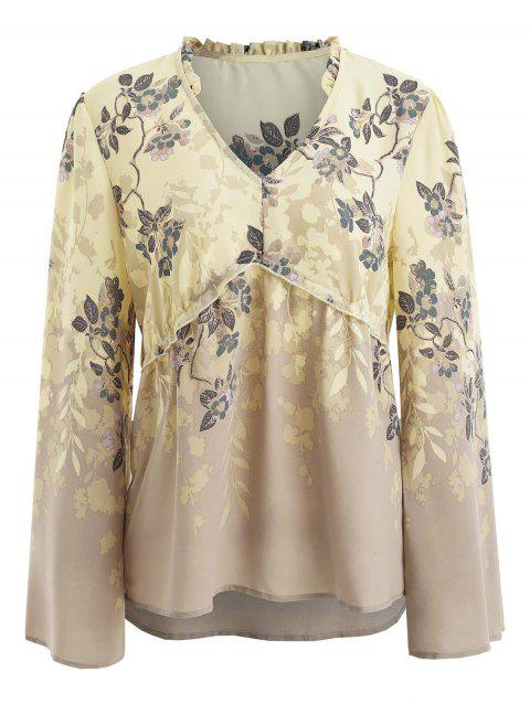 Flare Sleeve Floral Blouse - multicolor XL