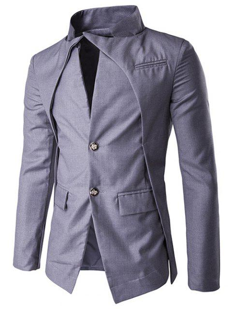Veste à Boutonnage Simple en Faux Twinset - Gris 2XL