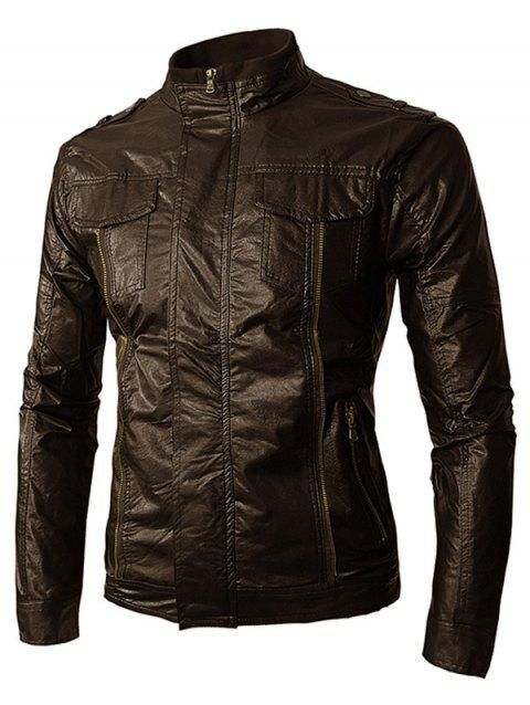 PU Leather Zip Up Stand Collar Jacket - COFFEE L