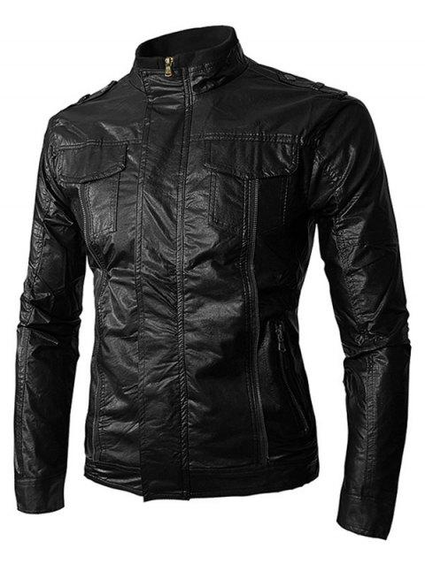 PU Leather Zip Up Stand Collar Jacket - BLACK L
